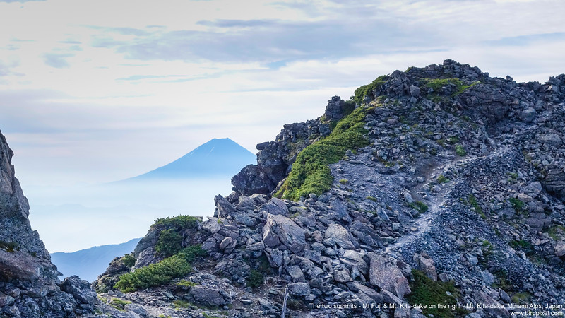The two summits - Mt Fuji & Mt. Kita-dake on the right - Mt. Kita-dake, Minami Alps, Japan