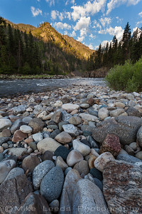 Main Salmon River in Idaho on a July morning. Groundhog Bar, Whiplash Rapid.
