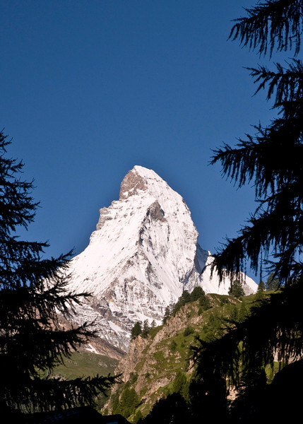 The Matterhorn as seen from downtown Zamatt, Switzerland.