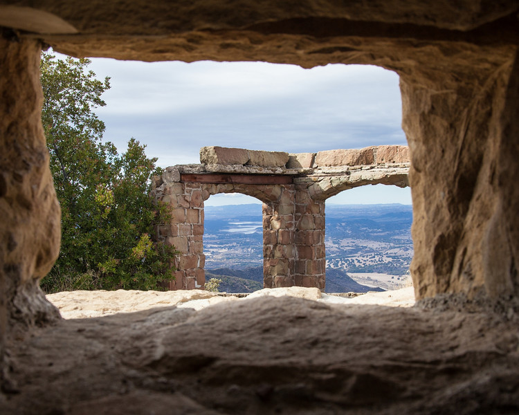 Lake Cachuma through the arches at Knapp's Castle