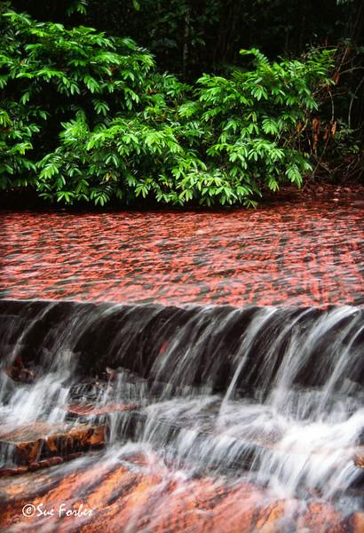 Red rock<br /> Jaspe waterfall in Gran Sabana, Venezuela with jasper rock giving it the red color