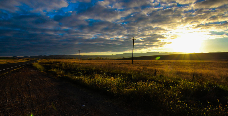Sunrise and power poles