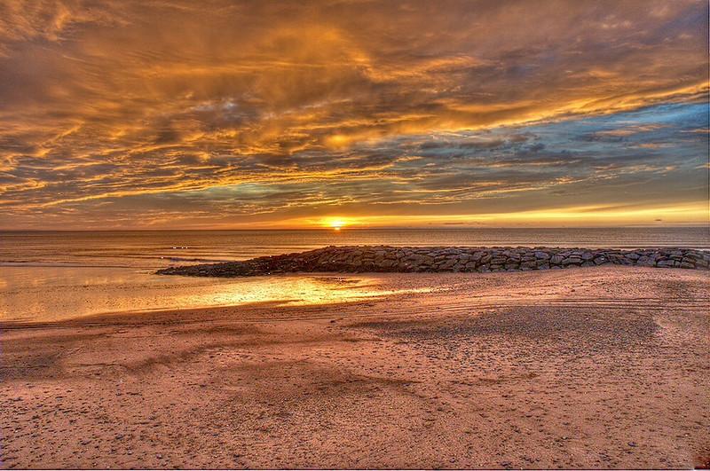 Sunset over Tywyn beach