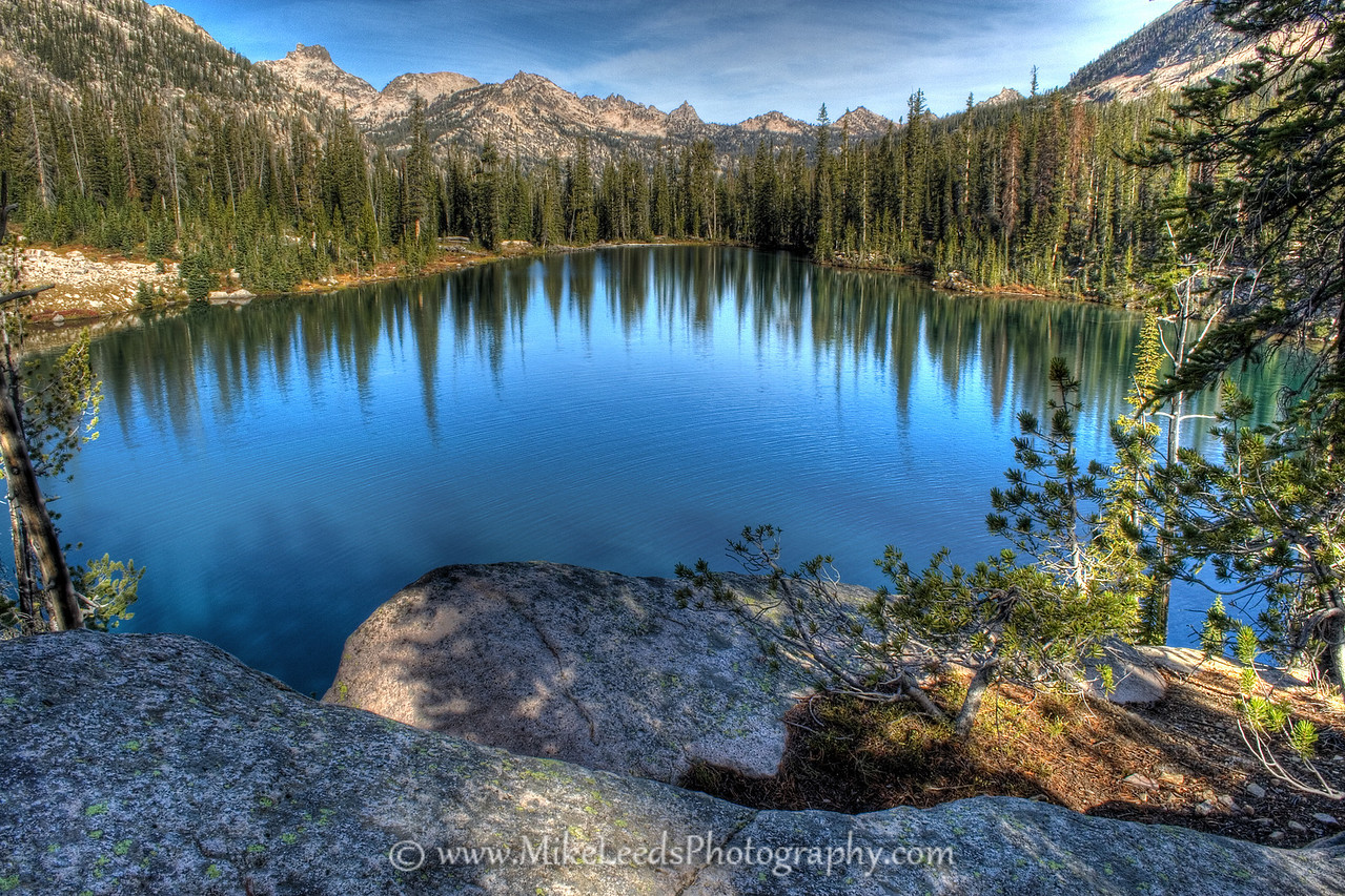 Middle Cramer Lake in the Sawtooth Mountains on a September morning. HDR