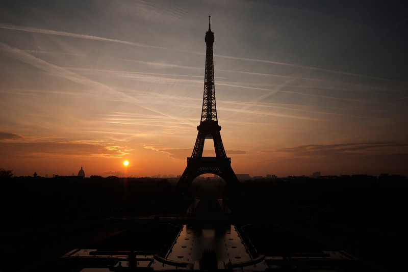 Eiffel tower at sunrise.