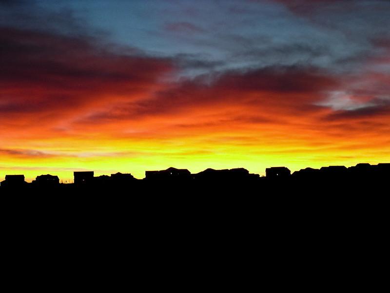 Sunrise on the way to hockey practice!