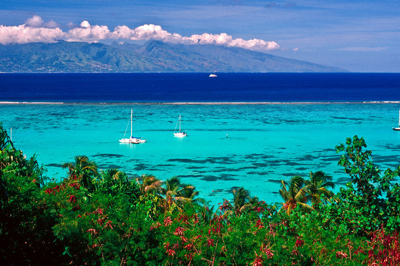 Looking back at Tahiti from Moorea, Society Islands