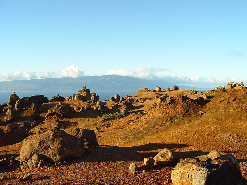 This is a shot of Garden of the Gods on Lanai looking north toward Molokai, Hawaii not far from  Shipwreck Beach.