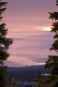 Foggy Vancouver (January 23) - from Hollyburn Mountain peak
