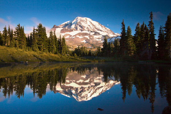 Mt. Rainier Reflection / Spray Park / Mt. Rainier National Park, Washington  Spray park is an amazing place to be at this time of the year - wildflowers blooming all around the park. This is the west side of the mountain and gets the sunset light gleaming off its red rocks and glaciers. I went with my friend Ritesh to this spot just before sunset. We found this tarn just to the side of the park. The mosquitoes were having a feast here. Ritesh was busy spraying his body with insect repellents and shooing away the mosquitoes while I clicked. He loves hiking (read as he is trying to reduce his weight). He's a good friend and was willing to accompany me to the Park (a 3 mile hike) and back down when it was dark. I think that the sight was worth the effort and would definitely want to go back there again. He was on the lookout for Bears throughout our trek down back to the car :). More pics from Spray park to follow.