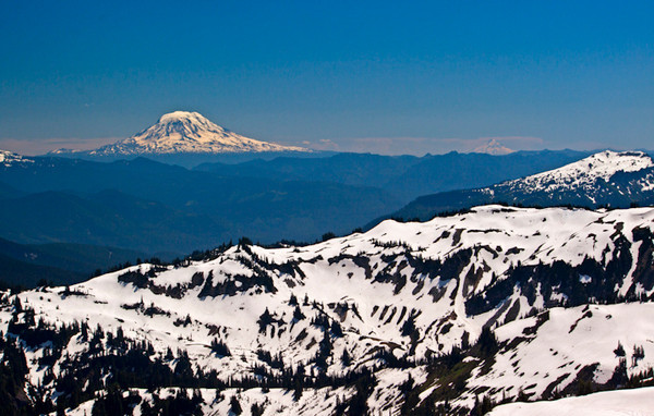 View from Pan Handle Gap / Mount Adams and Mount Hood / Mount Rainier NP / Washington.  This is the view from atop a mountain near Pan Handle Gap. The trail was completely covered in snow, but I luckily met 2 guys from outside Washington who were on the same trail. Loved hiking with them. To get to this view point, scrambled through loose rocks and gravel and thanks to those guys who helped me get up there and even offered to carry my backpack on the way back down. Overall wonderful people and a great day of hiking.