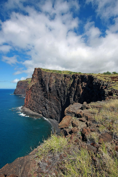 The amazing cliff line near the old Kaunolu Village area on the island of Lana'i in Hawaii.