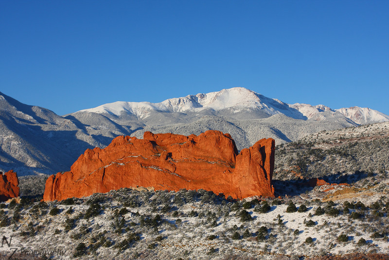 Pikes Peak from Garden of the Gods, Colorado Springs, Colorado. October 27 2011