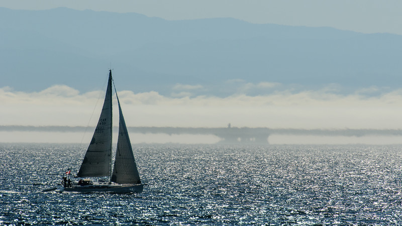 Marine Layer Mirage below the Olympic Mountains