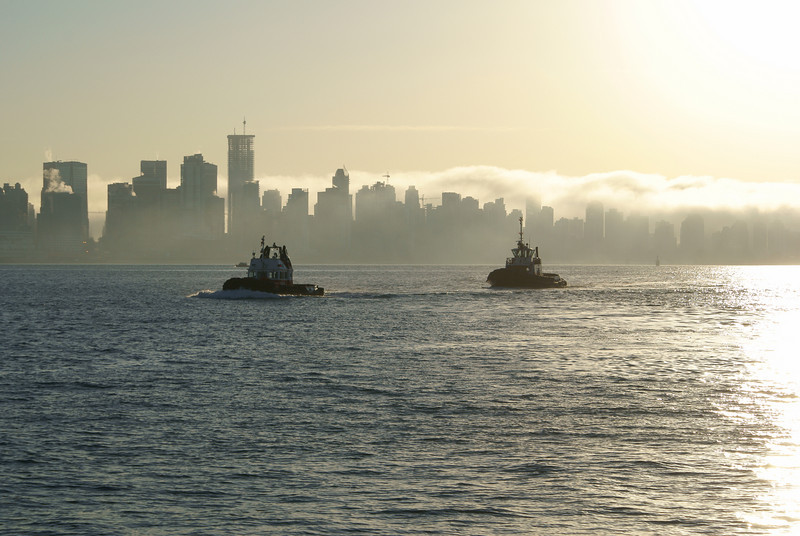 Two tugs in the fog