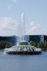 Fountain on Lake Eola, Orlando, Florida.