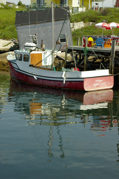 Fishing boat and tilted shack, Peggy's Cove, NS, CA