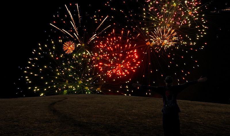 A bit of photoshop magic combines my son on the trail on top of Max Patch with a fireworks display from the Asheville Tourist baseball club.