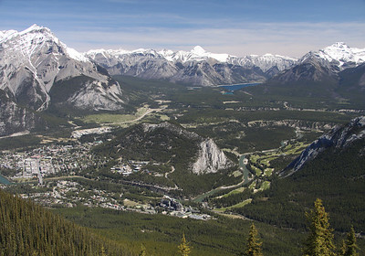 Banff, Alberta and area with Tunnel Mountain in the centre from the top of Sulphur Mountain, June 2009