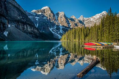 Canoes at Moraine Lake Village of Lake Louise Alberta, Canada © 2014