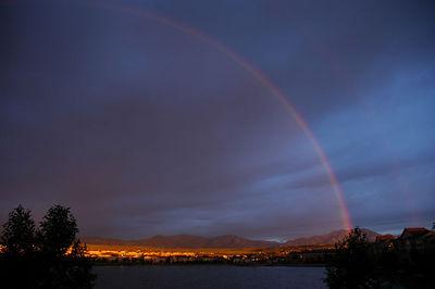 Rainbow over Colorado Rockies Flatirons  July 2005