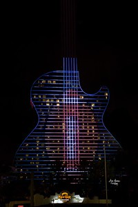 Hard Rock Guitar Hotel with football lights for Super Bowl 2020 in Fort Lauderdale Hollywood Florida