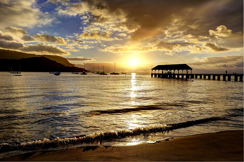 Hanalei Pier Sunset - Island of Kauai, Hawaii