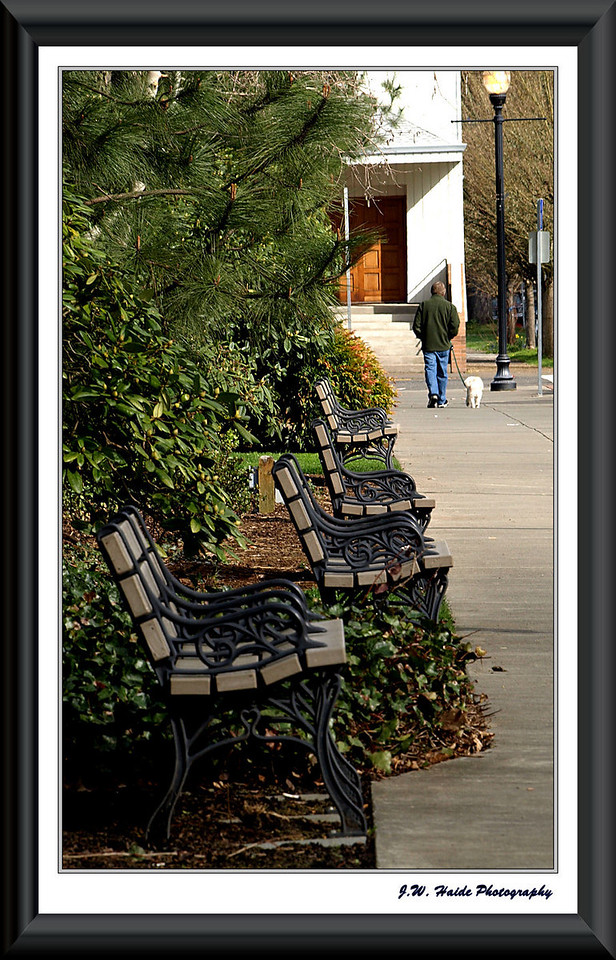 Benches along 2nd Avenue in Downtown Hillsboro, Oregon