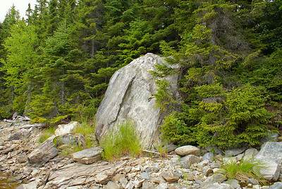 A large boulder sits derelict on the shores of Serpentine Lake.  Photo taken 23 June 2010.