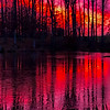 Sunset Reflections on a Frozen Lake