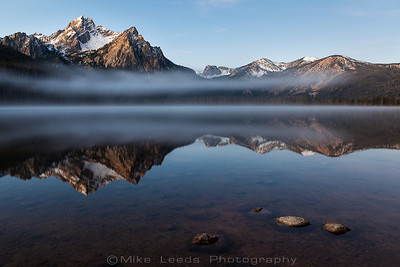 Mt. McGowan overlooking Stanley Lake on a crisp October Morning. Sawtooth Mountains in Idaho.