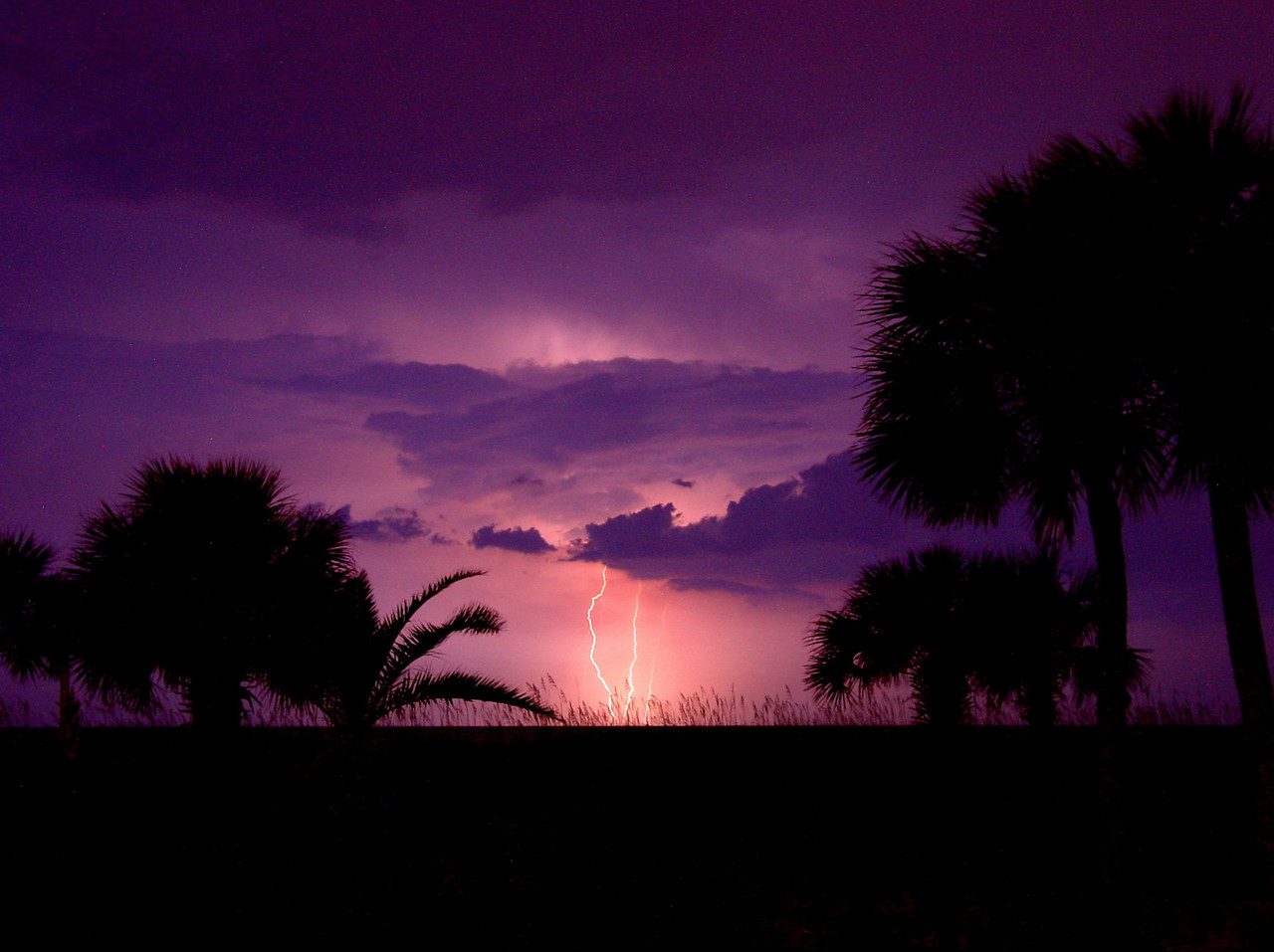 Thunderstorm over the ocean at Myrtle Beach, SC. Taken with Sony digital point-and-shoot on tripod. This was the very first shot.