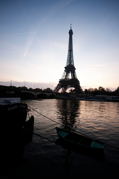 Eiffel tower across the Seine River.