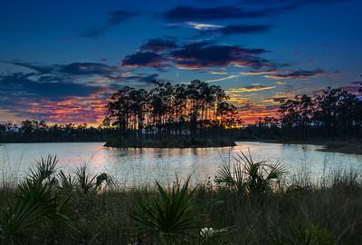 Pine Glades Lake Sunset - Everglades National Park,  FL