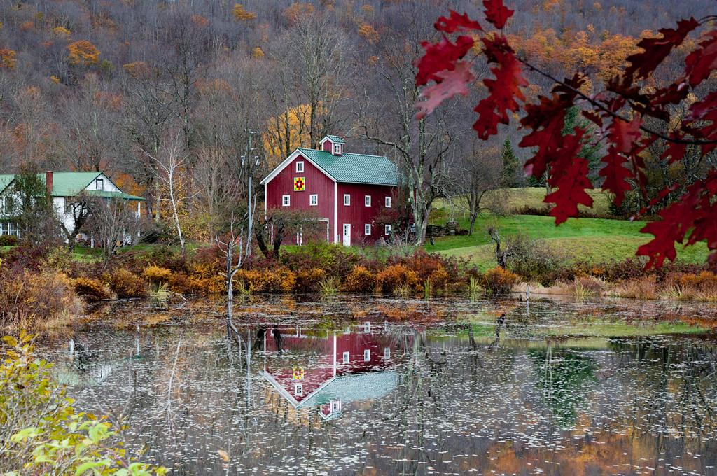 red barn on Pond