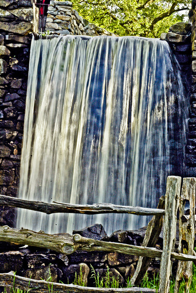 Falls by Mill Wheel-Old Grist Mill, Wayside Inn, Sudbury, MA