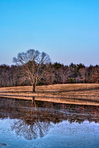 We recently had a crazy rain storm around here, and many places had some severe flooding. Lynne's area got it bad, many roads were shut down, and it was amazing just how many houses had brand new lakes in their front yards.  This was taken in my neck of the woods though. In Wrentham, there's some large fields with a nice country road winding between them. It's a nice back route that I love to drive, especially at night. Back when I had just purchased my DSLR, it had flooded, and I never got anything I really liked.  Well I decided I wouldn't let another flood go to waste. Using an app on my iPod Touch I figured out when sunset would be, and I went out there with my tripod and gear.  Turns out sunrise would work better with what I was shooting, as the sunset was at my back for most of what I shot. It still gave a nice color gradient in the sky, which is never a bad thing to get naturally.   EF 28-105mm f/3.5-4.5 II USM @ 45mm  ISO 100, F/22 at 1, 4 and 15 seconds.