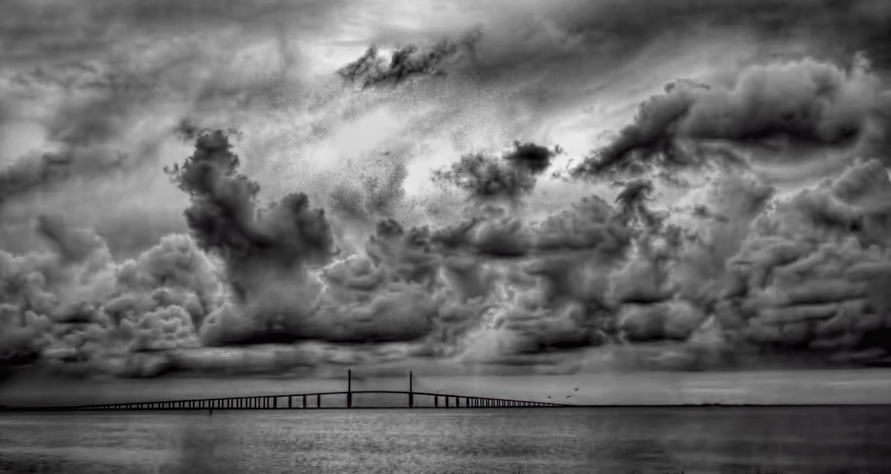 Skyway Black and White Morning