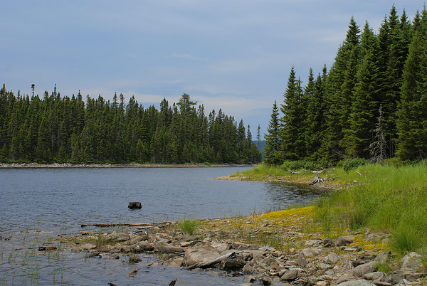 A view of Serpentine Lake, just below the inlet pictured earlier.  This view of the lake is but a small portion of a large southern inlet.  Beyond the pass between the two shores lies the main body of the lake, with the distant shore just visible between the passage.  Photo taken 23 June 2010.