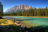Castle Mountain and Bow River in Banff National Park, Canada