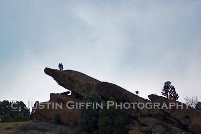Hikers on a rock. Red Rocks, Morrison, CO
