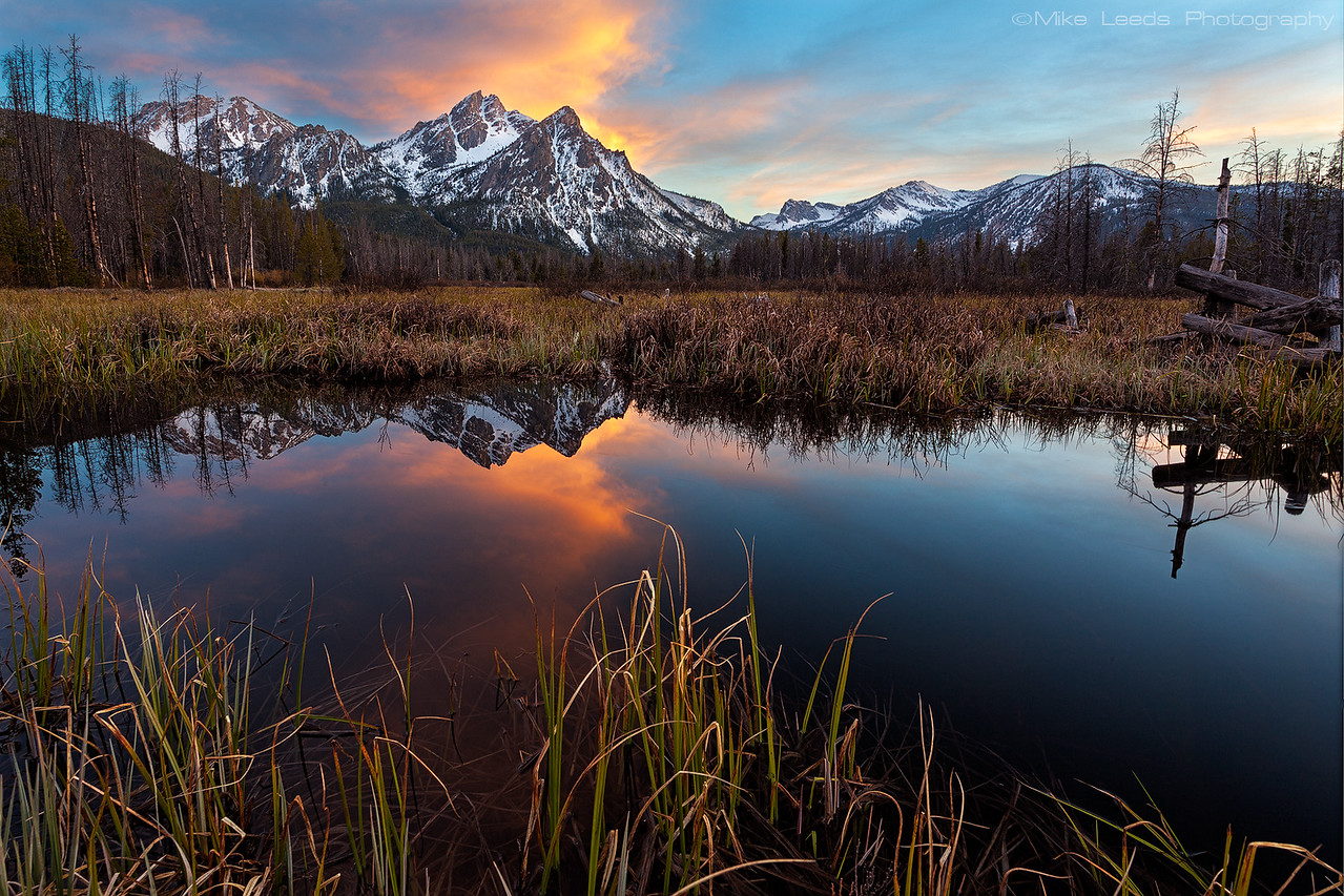 Beaver Pond near Stanley Lake in the Sawtooth Mountains in Idaho on a May evening.