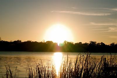 Sun Setting on Lake in Winter Park, FL