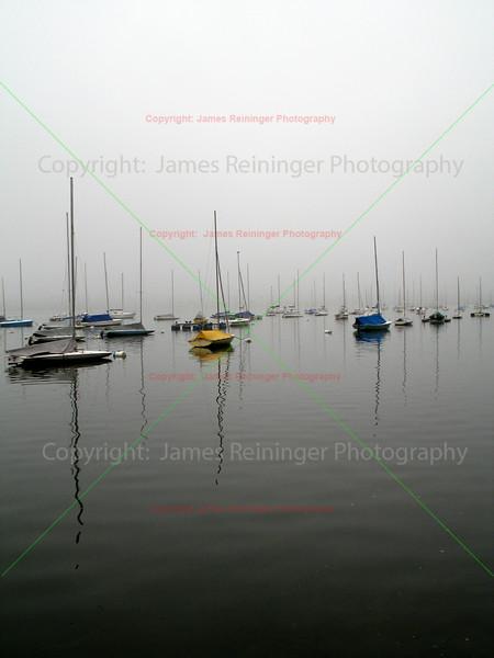 Sailboats in Morning Fog
