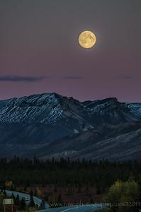 Moonrise Over Denali Denali National Park Alaska © 2014