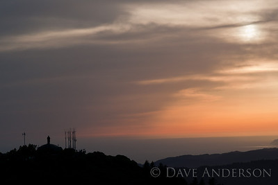 Sunset as seen from the top of Mount Tamaplais. Mill Valley Air Force Station in the foreground, on the West Peak of Mount Tam.