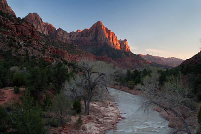 Daylight leaves its final touch on The Watchman.  Early spring, Zion National Park
