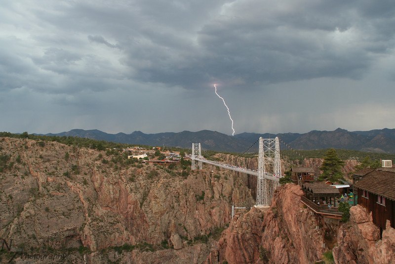 Royal Gorge Bridge bracketing a bolt of lightning, July 2nd 2006