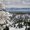 Lake Tahoe in Winter<br /> Snowy scene of Lake Tahoe from Alpine Meadows, California
