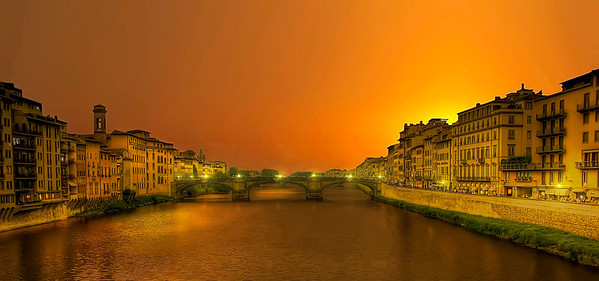 Red sunset Florence, Italy.